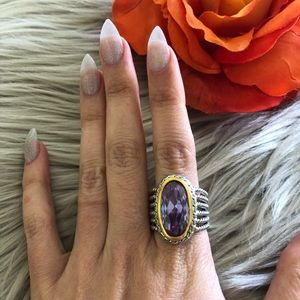 Jewelry - Brilliant Amethyst Oval Rope Ring